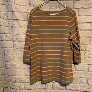 Denim& co large tan stripe knit shirt 4688